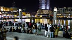 Timelapse Of Burj Khalifa Water Show Fountain Stock Footage