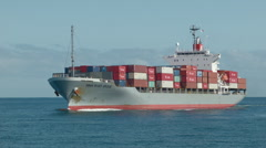 Loaded Freight Container Ship Stock Footage