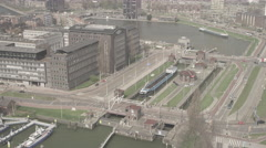 Aerial of cityscape and movable bridge in Rotterdam Stock Footage