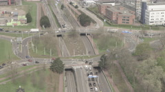 Aerial of vehicle moving on highway Stock Footage