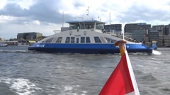 Boat passing by during Boat ride in Amsterdam Stock Footage