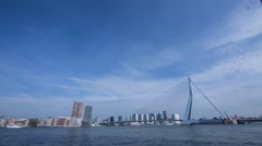 View of Erasmusbrug bridge and cityscape Stock Footage