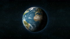 Realistic Earth from space spinning around its axis Stock Footage