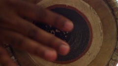 Mrdanga Indian drum playing, close up of fingers, slow motion Stock Footage
