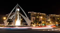 Timelapse Of Clock Tower Roundabout In Deira Stock Footage