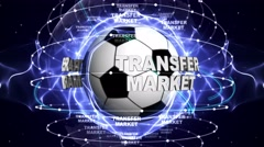 TRANSFER MARKET Text Animation and Soccer Ball, Loop, 4k - stock footage