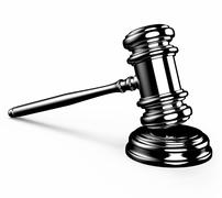 Judge gavel isolated on white background with clipping path. Stock Illustration