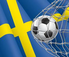 Soccer Goal. Swedish flag with a soccer ball in a net. Vector illustration Stock Illustration