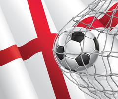 Soccer Goal. English flag with a soccer ball in a net. Vector illustration Stock Illustration