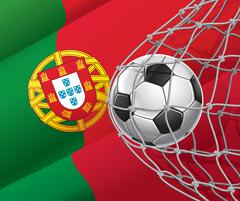Soccer Goal. Portuguese flag with a soccer ball in a net. Vector illustration Stock Illustration