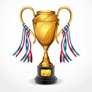 Golden award trophy and ribbon. vector illustration Stock Illustration