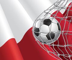 Soccer Goal. Polish flag with a soccer ball in a net. Vector illustration Stock Illustration