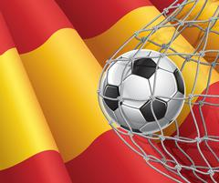 Soccer Goal. Spanish flag with a soccer ball in a net. Vector illustration Stock Illustration