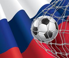 Soccer Goal. Russian flag with a soccer ball in a net. Vector illustration Stock Illustration
