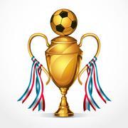 Soccer Golden award trophy and ribbon. vector illustration Stock Illustration