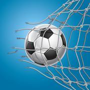 Soccer Goal. Soccer ball or football breaking through the net of the goal. Ve Stock Illustration