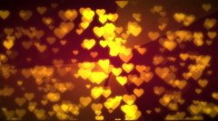Gold hearts flying. 3D rendering. - stock footage