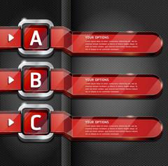 Red Buttons Website Style Number Options Banner & Card Background. Vector ill Stock Illustration