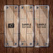 Glass frame on wooden texture background. vector illustrator Stock Illustration