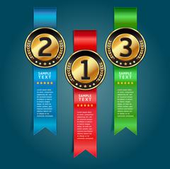 Colorful Medals with Ribbon Style Number Options Banner & Card. Vector Stock Illustration