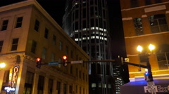 Nashville Night Cinematic Buildings and City Lights Stock Footage