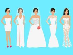 Vector illustration of a set of wedding dresses Stock Illustration