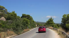 Road traffic at the Sithonia peninsula county route. Chalcidice, Greece Stock Footage