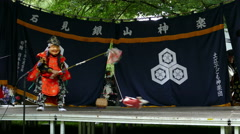 4K Traditional Japanese Theater Fishing Japan Festival Munich Germany Europe Stock Footage