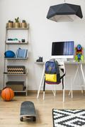 Minimalist teenager's room - stock photo