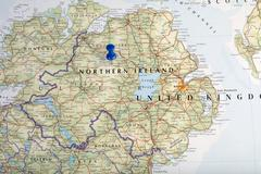 Northern Ireland with pushpin illustrative editorial Stock Photos
