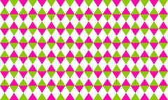 Abstract geometric seamless pattern of rhombus in pink, green and white color Stock Illustration