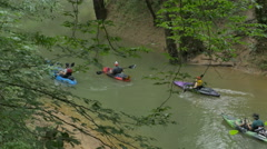Canoe and Kayak on Echo River Creek Mammoth Cave National Park Stock Footage