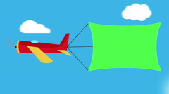 Cute colorful cartoon Air-Plane Towing An Advertising Banner of green colo Stock Footage