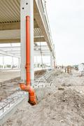 Downpipe system for drainage rainwater Stock Photos