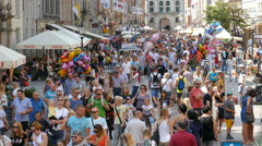 Crowd of people in Gdansk, Poland Stock Footage