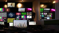 Motion Loopable Background 086, News operator room Stock Footage