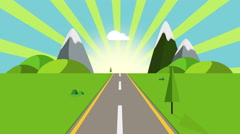 Ride through a cartoon highway seamless loop. Animated road on a sunny day Stock Footage