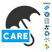 Care Umbrella Flat Vector Icon With Bonus - stock illustration