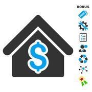 House Rent Flat Vector Icon With Bonus - stock illustration