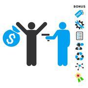 Thief Arrest Flat Vector Icon With Bonus - stock illustration