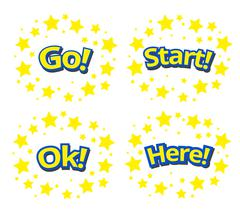 Phrases written in a cartoon game style yellow color with blue stroke Stock Illustration