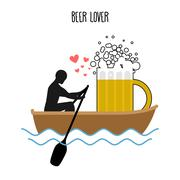 Beer lover. Man and beer mugs and ride in boat. Lovers of sailing. Man rolls  Stock Illustration