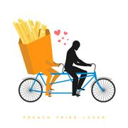 Lover french fries. Food on  bicycle. Lovers of cycling. Man rolls fastfood o Stock Illustration