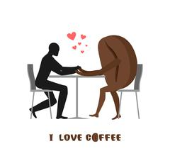 Coffee lovers. Lover in cafe. Man and coffee beans sitting at table. Food in  Stock Illustration