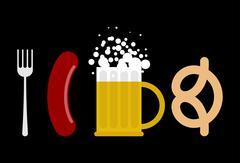 Oktoberfest set. Sausage and beer mug. Fork and pretzel snack habits. Food fo Stock Illustration