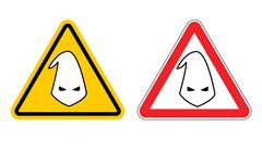 Warning sign of racism. Hazard Yellow Sign race discrimination. White cap in  Stock Illustration