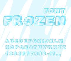 Frozen font. Ice alphabet. Transparent ABC. Cold blue letters - stock illustration