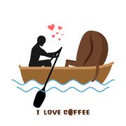 Coffee lovers. Man and coffee beans  ride in boat. Lovers of sailing. Man rol Stock Illustration