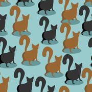 Back Cat seamless pattern. Pets background. Animal ornament Stock Illustration