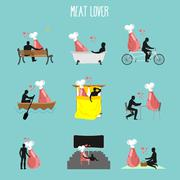 Meat lovers set. Love to collection of ham. Man and ham in movie theater. Lov - stock illustration